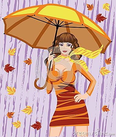 Autumn woman and umbrella