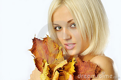 Autumn woman on white