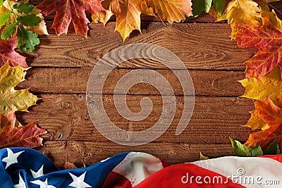 Autumn wood US flag background