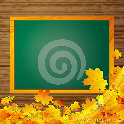 Autumnal background with blackboard
