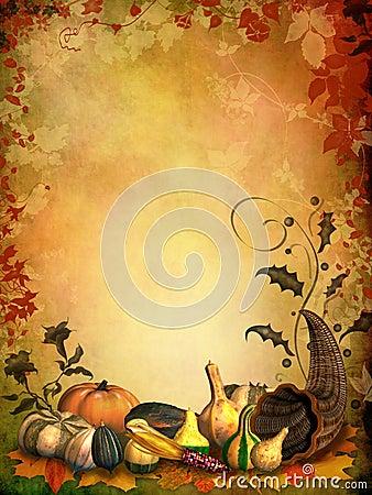 Autumnal background with cornucopia