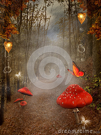 Free Autumnal Forest With Fog And Red Mushrooms Royalty Free Stock Photos - 27391318