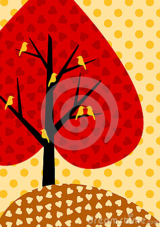 Autumnal Heart Tree Greeting Card