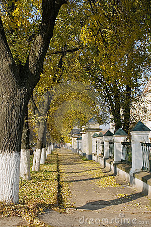 Autumnal lane in old Russian town