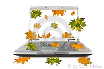 Autumnal leaves falling out of computer