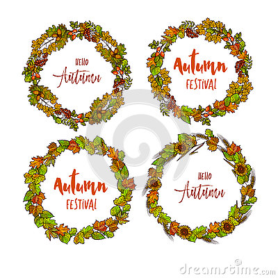 Free Autumnal Or Fall Round Frame Background. Wreath Of Autumn Leaves Royalty Free Stock Photo - 76113405
