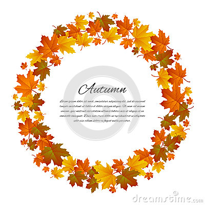 Free Autumnal Round Frame. Background With Maple Autumn Leaves. Vector Royalty Free Stock Image - 76628646