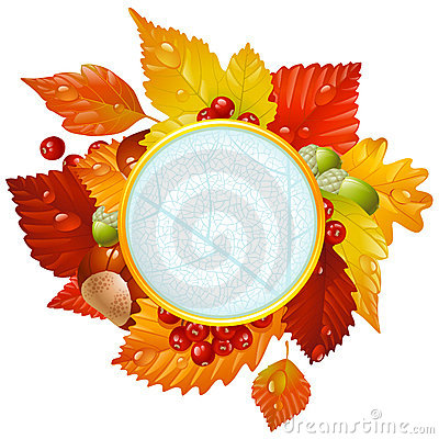 Autumnal round frame with fall leaf, chestnut, aco