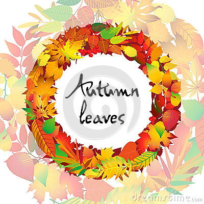 Free Autumnal Round Frame. Wreath Of Autumn Leaves. Isolated Design Elements. Vector Illustration. Stock Photography - 76459682