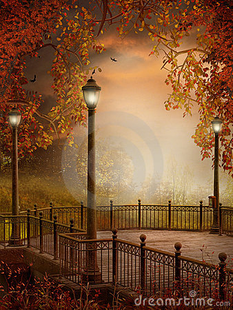 Free Autumnal Scenery With Lanterns Stock Images - 15631594