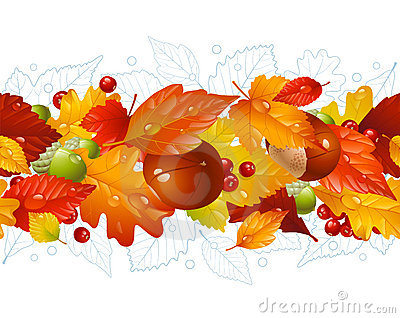 Autumnal seamless horizontal background