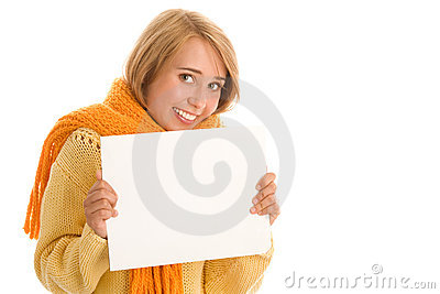 Autumnal woman with banner