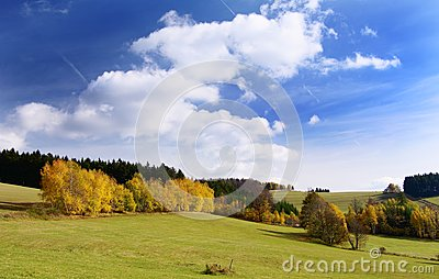 Autumny scenery with clouds