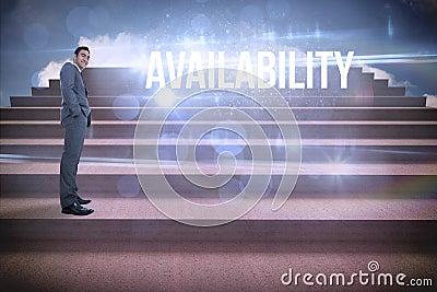 Availability against steps against blue sky