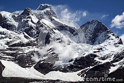 Avalanche, Torres del Paine peaks, Patagonia
