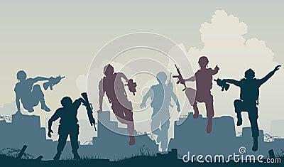 Avance de soldats
