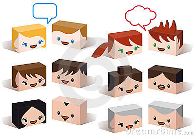Avatar heads, vector people icon set