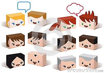 Avatar hoofden, de vectorreeks van het mensenpictogram