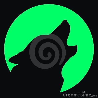 Avatar. Wolf and moon. Silhouette