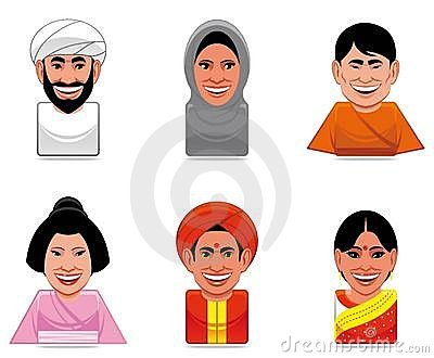 Avatar world people icons(arabian,japanese,indian)