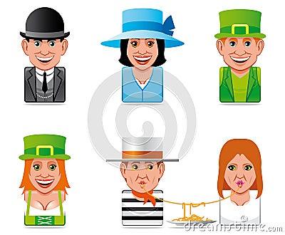 Avatar world people icons(english,irish,italian)