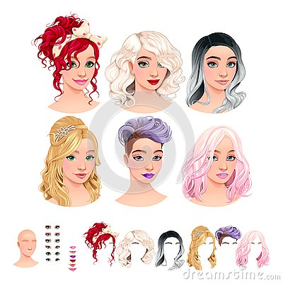 Free Avatars. 6 Hairstyles, 6 Make-up, 6 Mouths, 1 Head Royalty Free Stock Image - 125580126