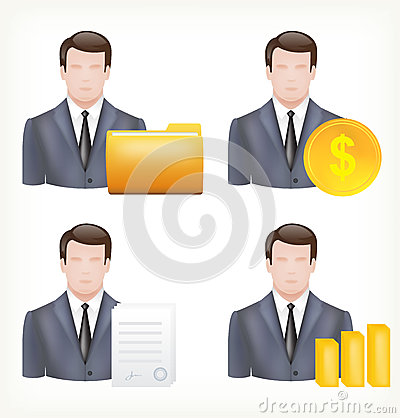 Avatars of a male and in business suits.