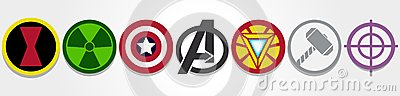 Avengers symbols Editorial Stock Photo