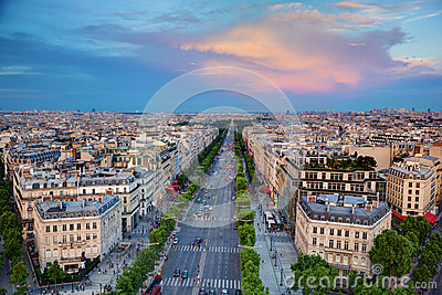 Avenue des Champs-Elysees in Paris, France