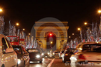 Avenue des Champs Elysees and Triumph Arch Editorial Stock Photo