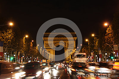 Avenue des Champs-Élysées in Paris at night Editorial Stock Photo