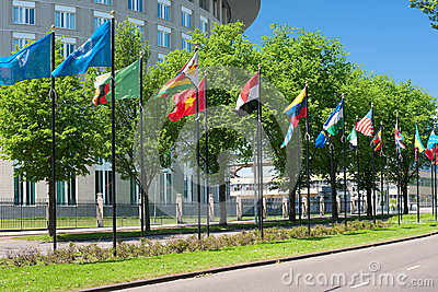 Avenue of flags in Hague Editorial Photo