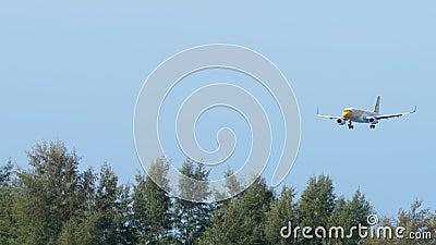 Avião Airbus A320 a aproximar-se video estoque