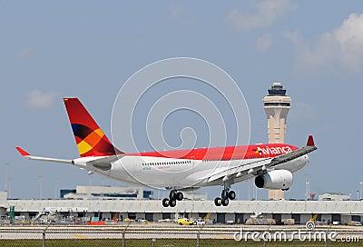 Avianca airplane at Miami International Editorial Photo