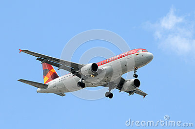 Avianca passenger jet airplane landing Editorial Stock Photo
