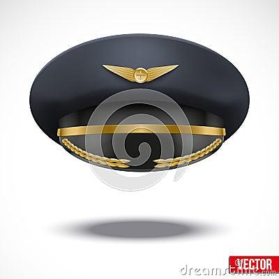 Aviator Peaked cap of the pilot. Vector.