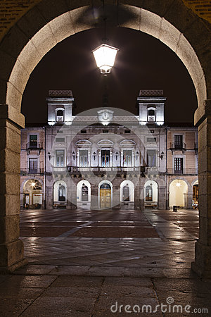 Avila City Hall at night