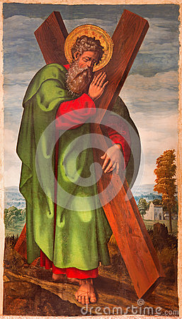 Free AVILA, SPAIN: The St. Andrew The Apostle Painting In Catedral De Cristo Salvador By Unknown Artist From 15. Cent. Royalty Free Stock Photography - 71377637
