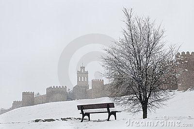 Avila wall in winter