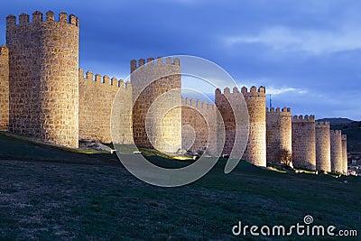 Avila walls at night