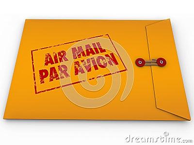 Желтая срочная поставка Avion равенства штемпеля воздушной почты конверта