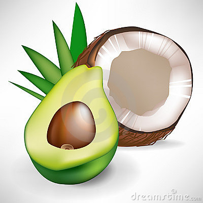 Avocado and broken coconut
