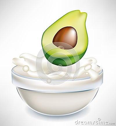 Avocado and creamy milk splash in bowl
