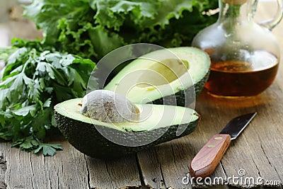 Avocado cut in half