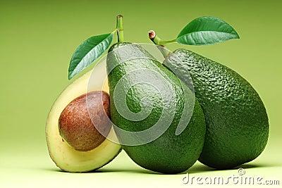 Avocado  on a green.
