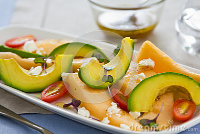 Avocado,Melon and Goat cheese salad