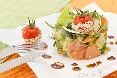 Avocado and salmon salad