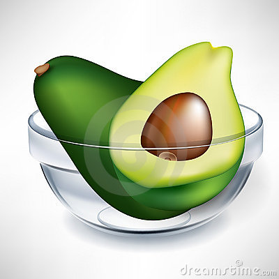 Avocado and slice in bowl
