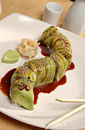 Free Avocado Sushi Roll Royalty Free Stock Images - 23142419