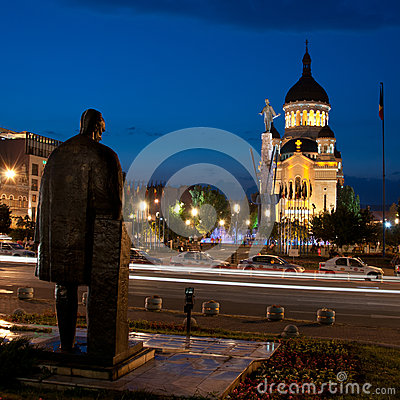 Avram Iancu and Lucian Blaga statues, Cluj-Napoca Editorial Stock Photo